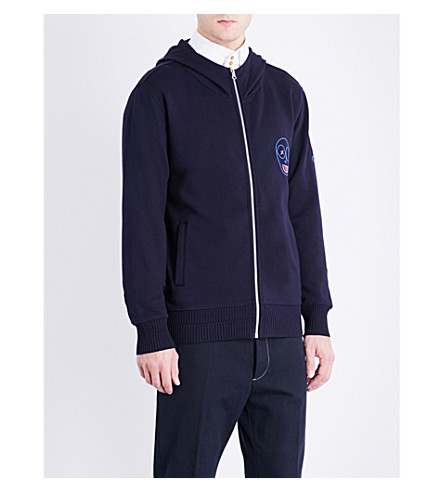 VIVIENNE WESTWOOD Puppet-embroidered cotton-jersey hoody (Navy