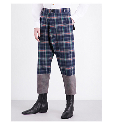 VIVIENNE WESTWOOD Check-patterned high-rise cotton trousers (Navy+indigo