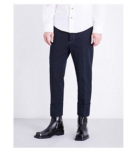 VIVIENNE WESTWOOD Puppet-embroidered tapered cropped high-rise cotton trousers (Navy