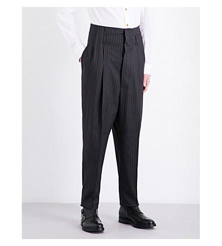 VIVIENNE WESTWOOD Pinstripe-patterned high-rise wool trousers (Grey+pinstripe