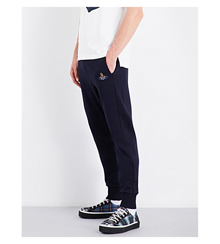 VIVIENNE WESTWOOD Embroidered skinny cotton-jersey jogging bottoms (Navy