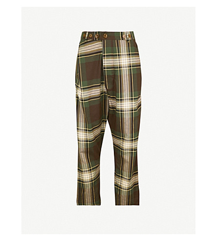 VIVIENNE WESTWOOD Tartan warped loose-fit tapered cotton trousers (Camu