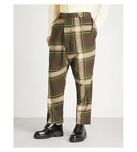 VIVIENNE WESTWOOD Tartan warped loose-fit tapered cotton trousers (Camu