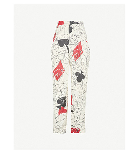 VIVIENNE WESTWOOD Card-print regular-fit tapered wool-blend trousers (Greggio