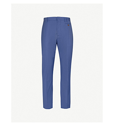 VIVIENNE WESTWOOD Regular-fit straight wool-blend trousers (Blue