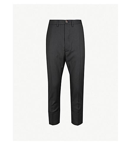 VIVIENNE WESTWOOD Striped regular-fit tapered wool-blend trousers (Black