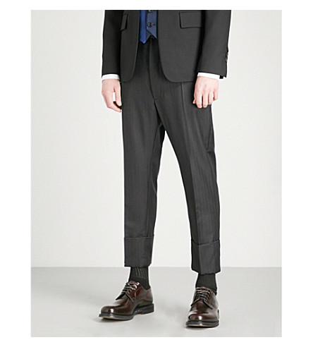 VIVIENNE WESTWOOD Striped regular-fit tapered wool-blend trousers (Black