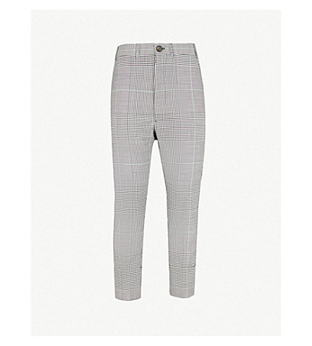 VIVIENNE WESTWOODHoundstooth 规则适合锥形羊毛长裤 (黑 + + 白色