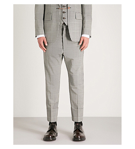 VIVIENNE WESTWOOD Houndstooth regular-fit tapered wool trousers (Black+and+white