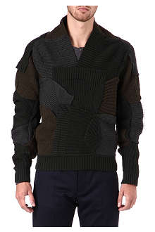 MAISON MARTIN MARGIELA Multi-knit shawl collar jumper