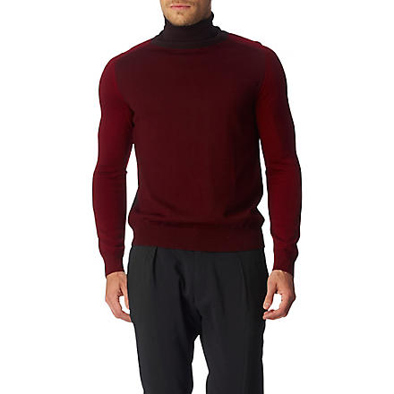 MAISON MARTIN MARGIELA Panelled roll-neck jumper (Red