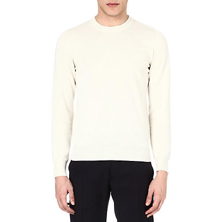 MAISON MARTIN MARGIELA Suede elbow-patch jumper (White
