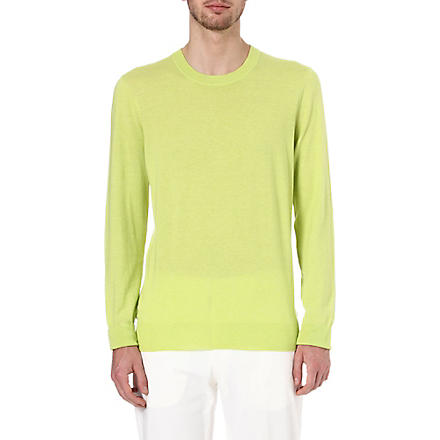MAISON MARTIN MARGIELA Suede elbow-patch jumper (Yellow