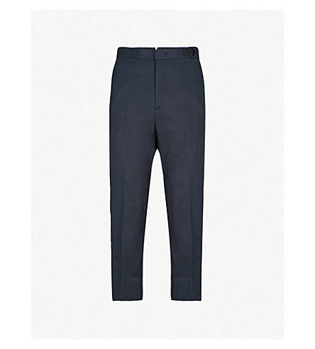 JIL SANDER Dropped crotch regular-fit cotton trousers (Navy