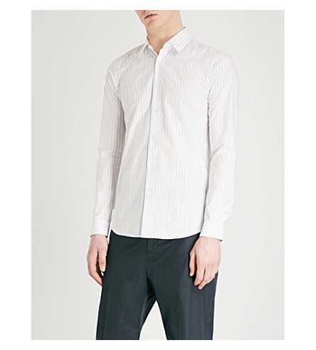 JIL SANDER Striped relaxed-fit cotton-poplin shirt (White+grey