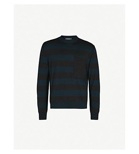 JIL SANDER Striped wool-blend jumper (Navy