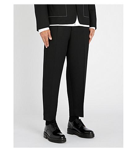 JIL SANDER Dropped-crotch straight-leg wool-twill trousers (Black