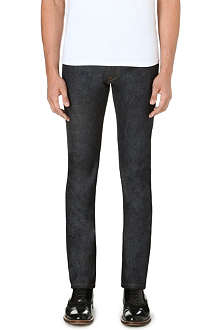 VALENTINO Slim-fit leather stud patch jeans