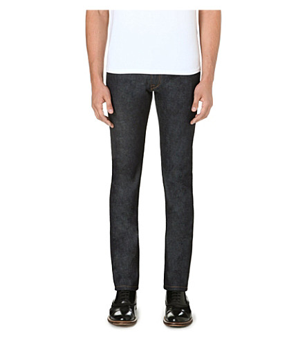 VALENTINO Slim-fit leather stud patch jeans (Indigo