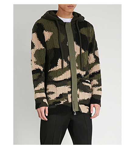 Camouflage knitted knitted VALENTINO cardigan Green VALENTINO Camouflage Idt0Bq0