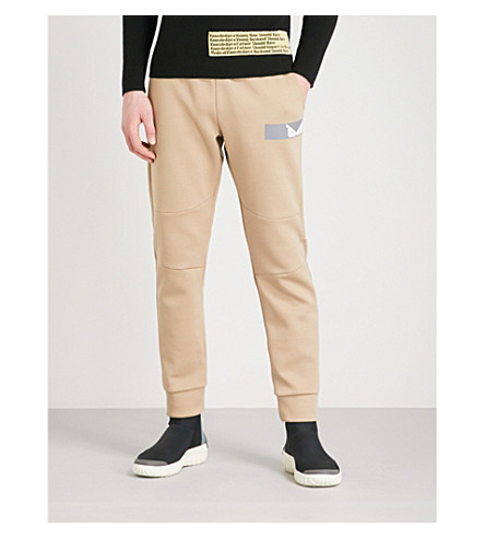 FENDI Metallic-logo cotton-jersey jogging bottoms (Beige
