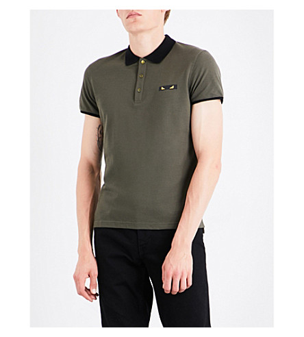 FENDI Bag Bugs cotton-piqué polo shirt (Military