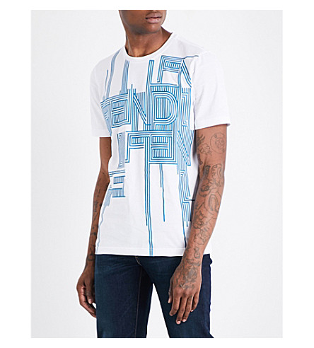 FENDI Logo-print cotton-jersey T-shirt (White+teal