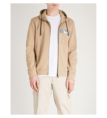 FENDI Monster cotton-blend hoody (Beige