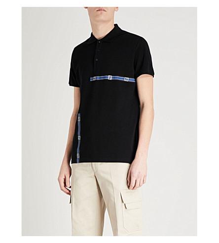 FENDI Logo tape cotton-piqué polo shirt (Black