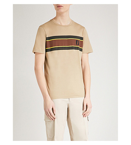 FENDI Logo-print cotton-jersey T-shirt (Brown