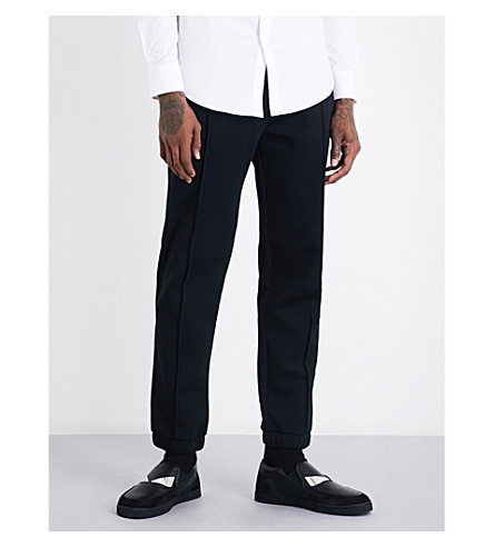 FENDI Striped-detail relaxed-fit jersey track pants (Blk+wht