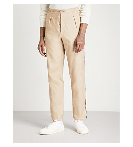 FENDI Side-stripe relaxed-fit straight cotton and linen-blend trousers (Beige