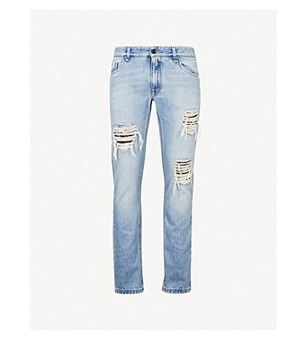 FENDI Distressed slim-fit tapered jeans (Blue