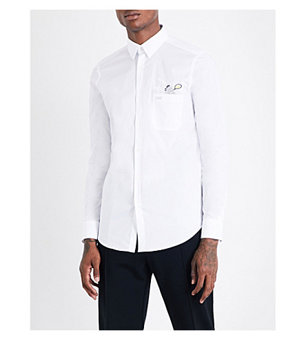FENDI Pocket-detailed regular-fit stretch-cotton shirt (White