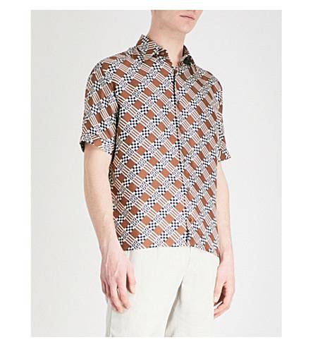 FENDI Check-print silk-satin shirt (Brown
