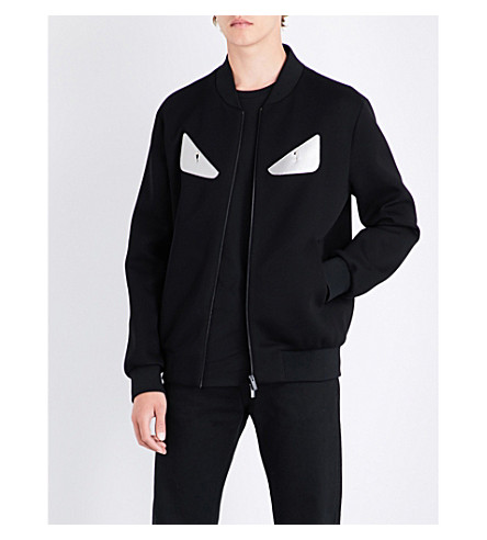 FENDI Bug eye-appliquéd neoprene jacket (Blk