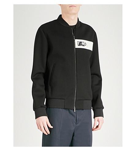 FENDI 徽标-绣氯丁橡胶轰炸机夹克 (黑色