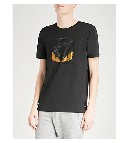 FENDI Monster crystals cotton-jersey T-shirt (Black