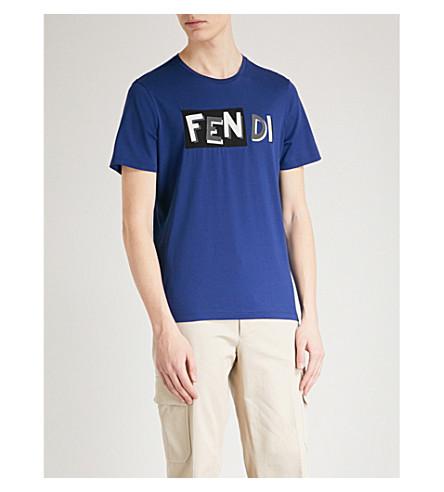 FENDI Logo-print cotton-jersey T-shirt (Blue