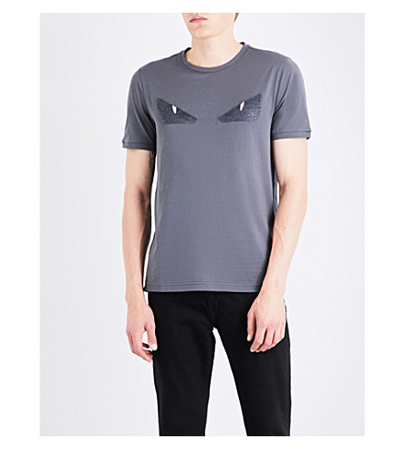 FENDI Bug eye sequin-embellished cotton-jersey T-shirt (Grey