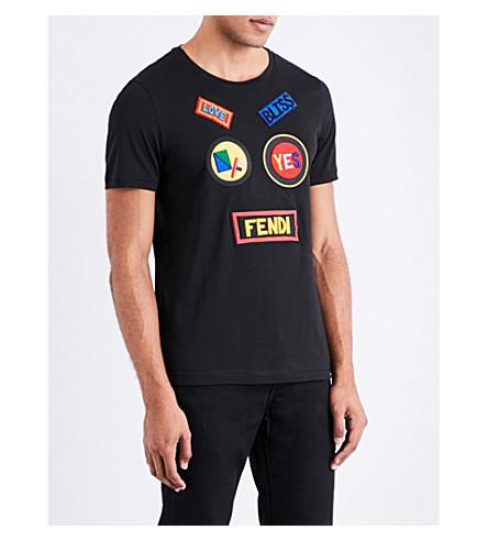 FENDI Patch appliqué cotton-jersey T-shirt (Black