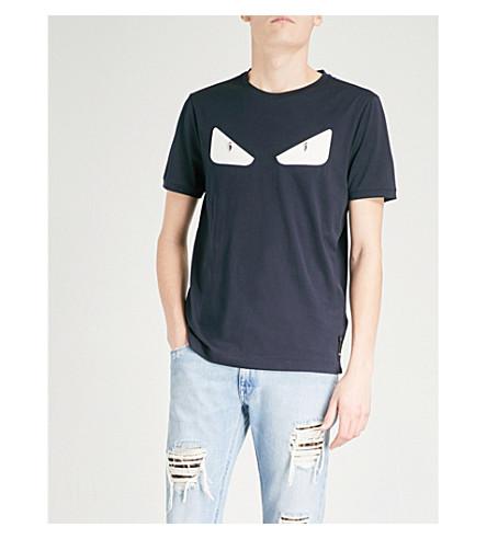 FENDI Bug Eye-appliquéd cotton-jersey T-shirt (Blue