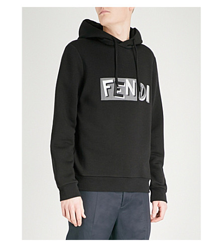 FENDI Logo-print wool hoody (Black