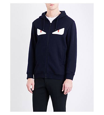 FENDI Bug eye-appliquéd cotton-blend hoody (Navy+white