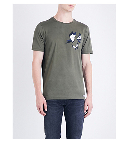 FENDI Butterfly Eyes-embroidered cotton-jersey T-shirt (Green