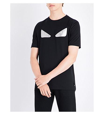FENDI Bug eye-appliquéd cotton T-shirt (Black+silver