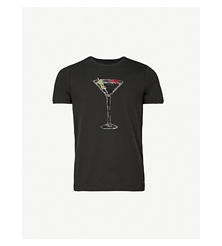 FENDI MARTINI 水晶点缀平纹针织棉 T 恤 (黑色