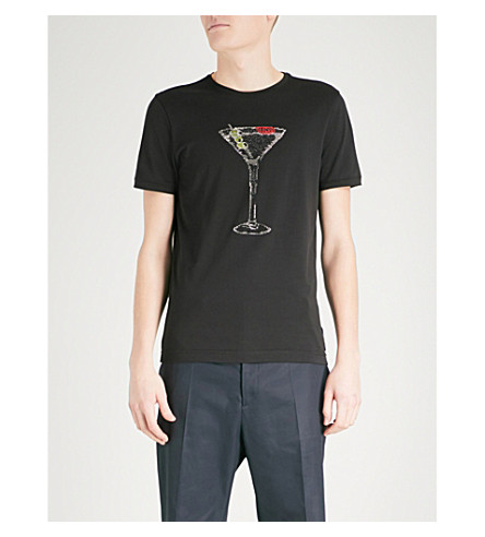 FENDI Martini crystal-embellished cotton-jersey T-shirt (Black