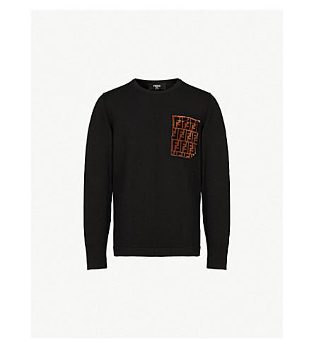 FENDI Logo pocket cotton and cashmere-blend jumper (Black