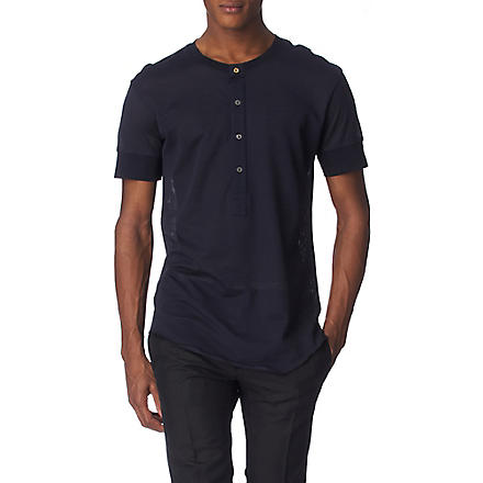 PAUL SMITH MAINLINE Mesh Henley top (Navy